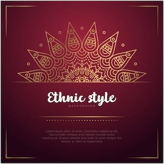Sfondo stile etnico con mandala e modello di testo