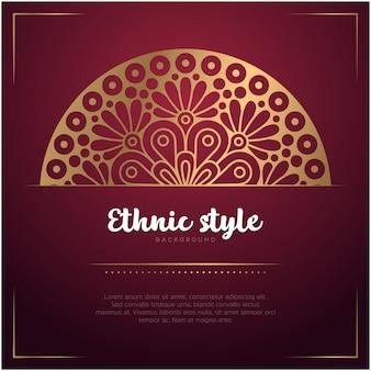 Sfondo stile etnico con mandala e testo modello, colore rosso e dorato