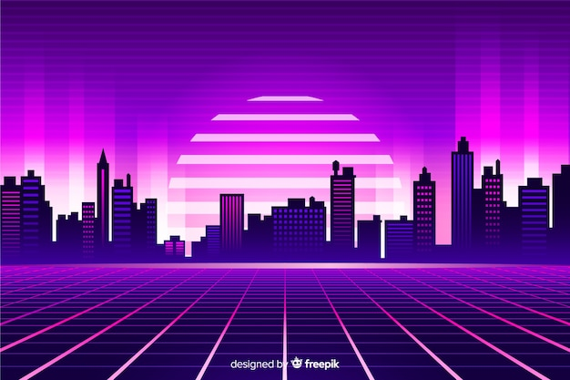 Sfondo stile futuristico paesaggio retrò