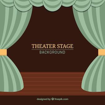 Sfondo teatro palco con tende in toni verdi