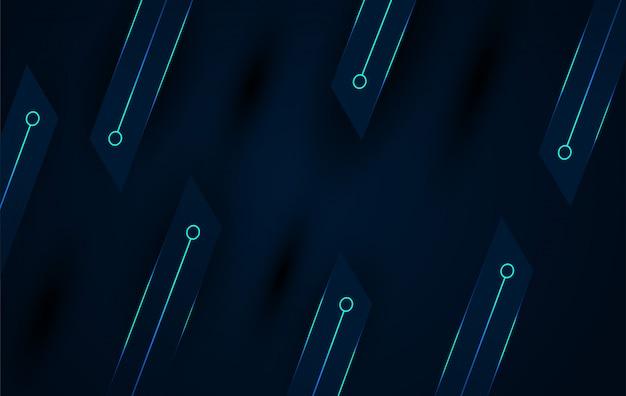Sfondo techno scuro con elemento di linee blu