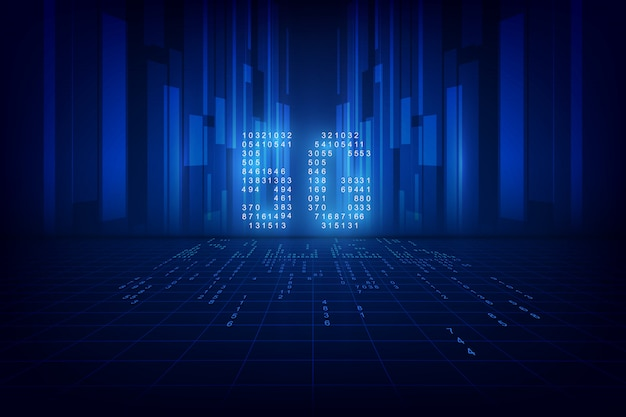 Sfondo tecnologia 5g. dati digitali come cifre collegati tra loro