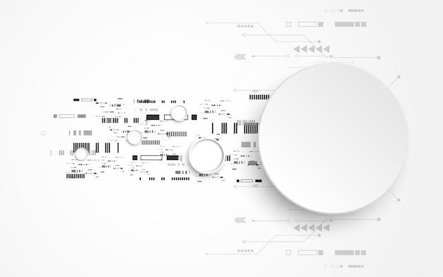 Sfondo tecnologia astratto bianco grigio con vari elementi di tecnologia