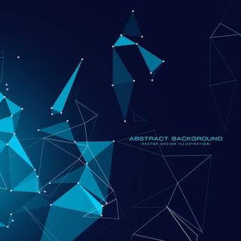 Sfondo tecnologia digitale con triangoli galleggianti e rete metallica