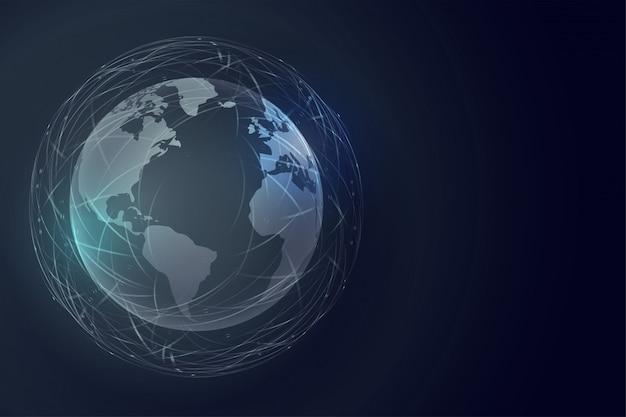 Sfondo tecnologia terra digitale con connessione globale