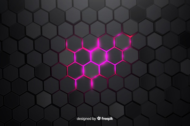Sfondo tecnologico a nido d'ape parzialmente illuminato