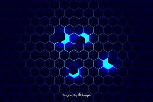 Sfondo tecnologico a nido d'ape su sfumature blu