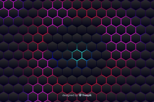 Sfondo tecnologico a nido d'ape su sfumature viola