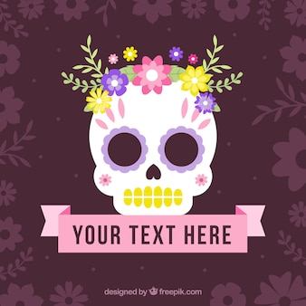 Sfondo teschio messicano con fiori e nastro
