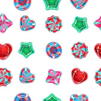 Sfondo trasparente con caramelle colorate su uno sfondo bianco.
