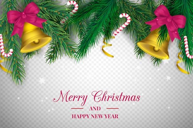 Sfondo trasparente con decorazioni natalizie
