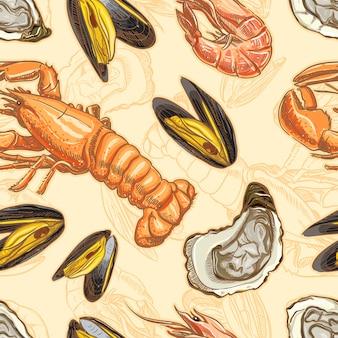 Sfondo trasparente con frutti di mare