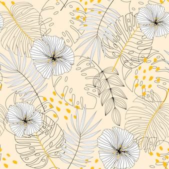 Sfondo trasparente con piante, foglie e fiori su sfondo beige