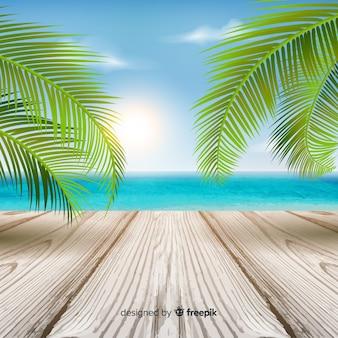 Sfondo tropicale colorato con foglie e pavimento in legno