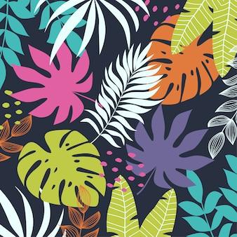 Sfondo tropicale colorato con piante e foglie