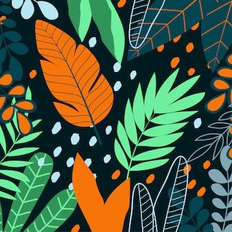Sfondo tropicale con foglie e piante