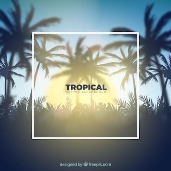 Sfondo tropicale con un design realistico