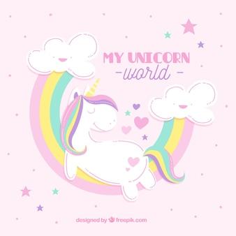 Sfondo unicorno con arcobaleni in pastello colorato