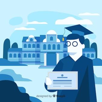Sfondo universitario piatto graduato