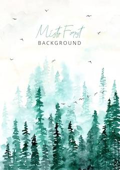 Sfondo verde acquerello foresta nebbiosa