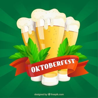 Sfondo verde con birre e nastro rosso di oktoberfest