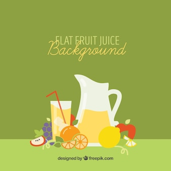 Sfondo verde con succo di frutta e frutta