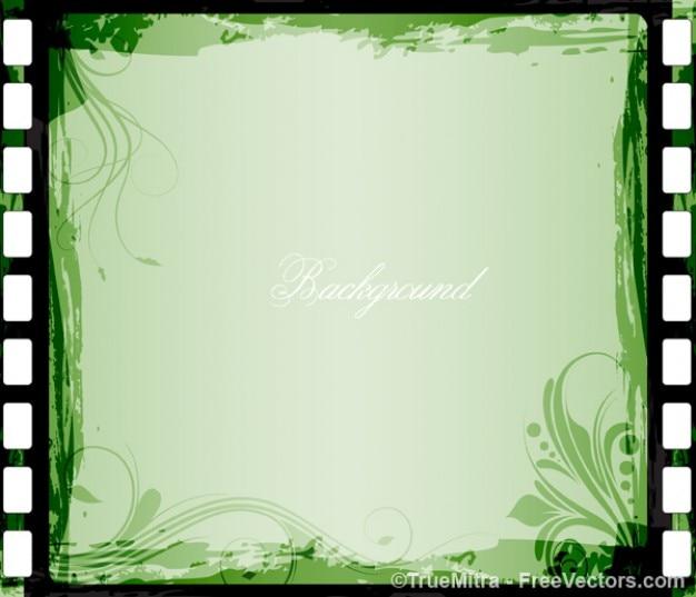 Sfondo verde cornice floreale