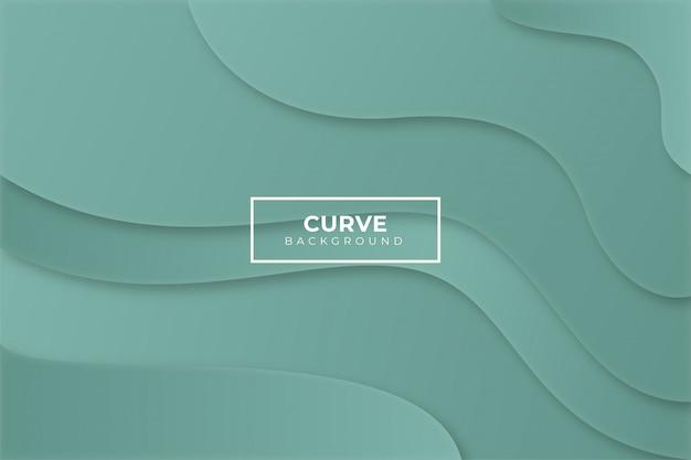 Sfondo verde curva con stile di carta