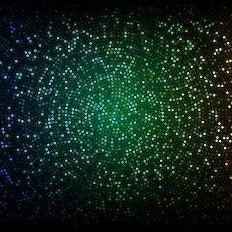 Sfondo vettoriale astratta. mosaico incandescente di cerchi sullo sfondo verde-blu scuro.