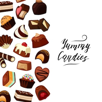 Sfondo vettoriale con caramelle al cioccolato testo e cartone animato