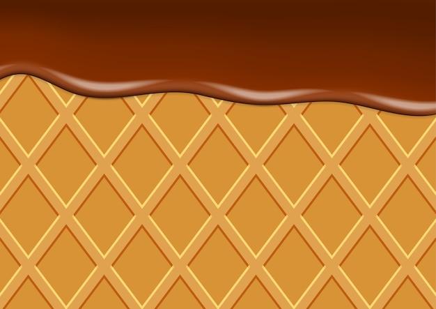 Sfondo vettoriale con cialda e gelato al cioccolato.