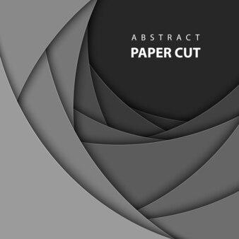 Sfondo vettoriale con forme di taglio carta nera.