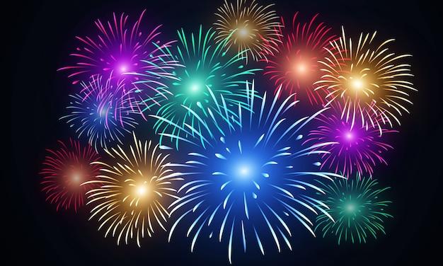 Sfondo vettoriale fuochi d'artificio colorati
