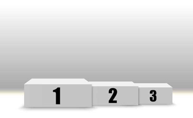 Sfondo vincitore con i segni del primo, secondo e terzo posto su un piedistallo. podio vincitore simboli sportivi.