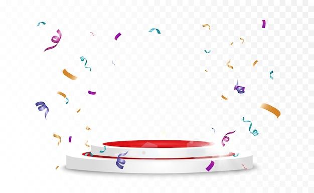 Sfondo vincitore con segni di primo, secondo e terzo posto su un piedistallo rotondo. simboli sportivi del podio del vincitore.