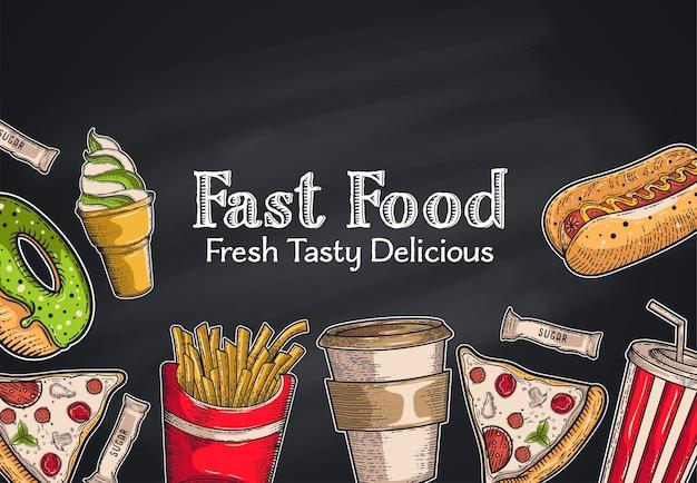 Sfondo vintage fast food. illustrazione disegnata a mano