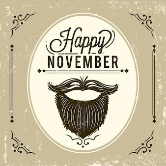 Sfondo vintage movember con barba