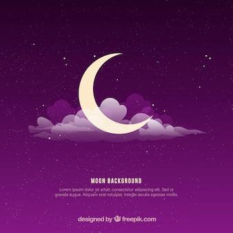 Sfondo viola con la luna e le nuvole