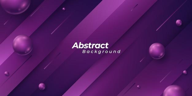 Sfondo viola con pezzi di forma stile 3d e sfere astratte scintillanti.