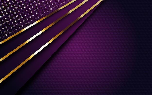 Sfondo viola scuro di lusso con striscia dorata e glitter