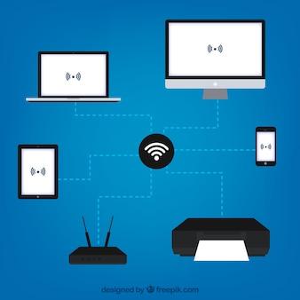 Sfondo wifi con dispositivi elettronici collegati