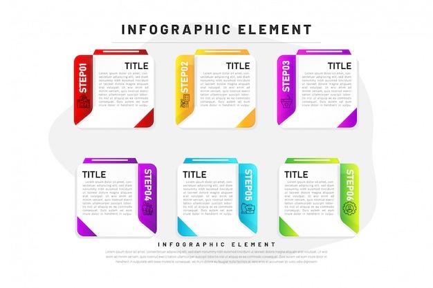 Sfumatura di infographic di affari del modello con il passaggio dell'elemento 6