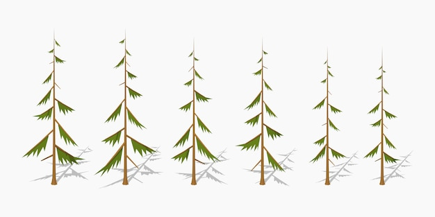 Shabby 3d lowpoly isometric pine trees