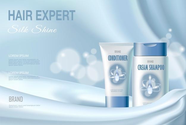 Shampoo cosmetico per capelli e balsamo idratante idratante. azzurro