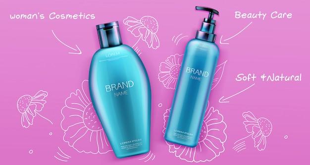 Shampoo e balsamo prodotti cosmetici di bellezza per la cura dei capelli su rosa
