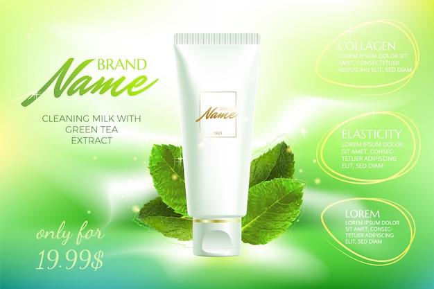Shampoo, lozione, gel doccia per poster pubblicitari con aroma di estratto o menta.