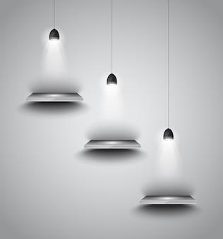 Shef con lampada a 3 faretti con luce direzionale