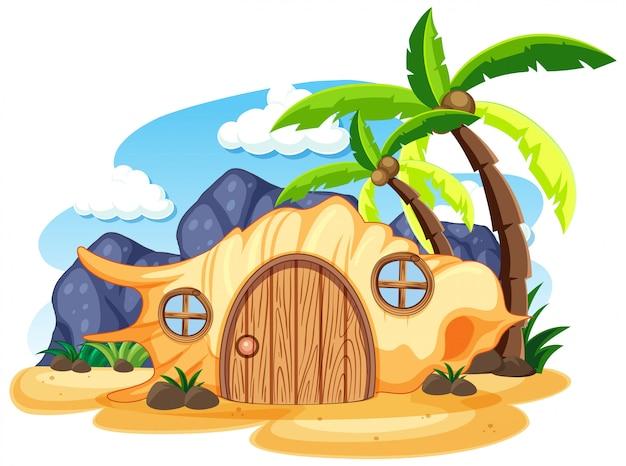 Shell fiaba casa sulla spiaggia in stile cartone animato su sfondo bianco