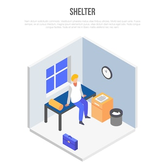 Shelter room concept, stile isometrico