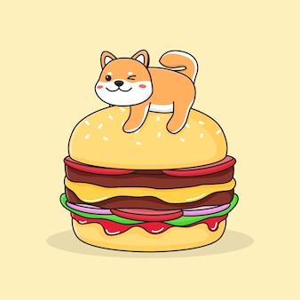 Shiba inu carino su hamburger
